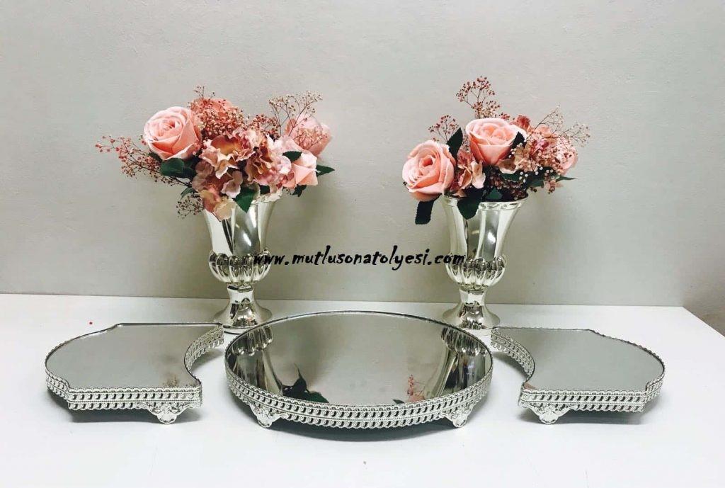 gümüş jardinyer vazo, nişan masası, söz masası