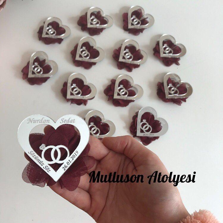 hediyelik kalpli nikah şekeri
