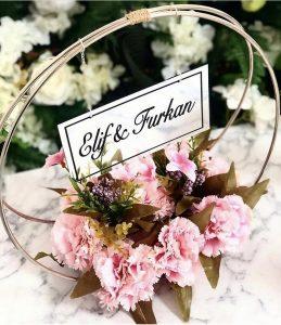 Pembe Çiçekli söz nişan masası süsleme malzemeleri
