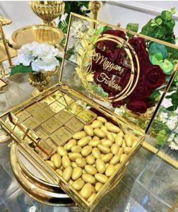 İsme özel kutulu kız isteme çikolatası Gold Renk