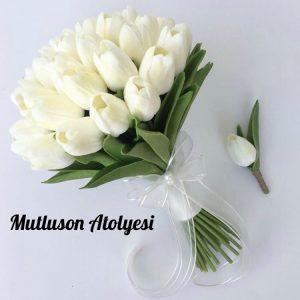 Gelin çiçeği buketi beyaz