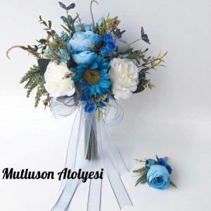 Gelin çiçeği buketi ve taçı beyaz mavi
