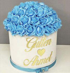 isme özel kız isteme çiçeği modelleri mavi